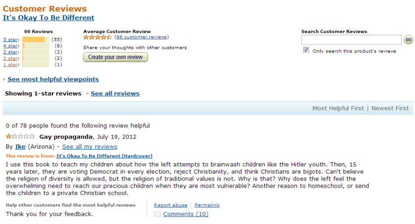 Its Okay To Be Different_One Star Amazon Review
