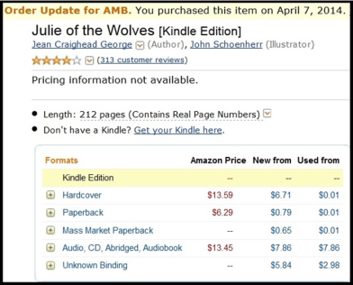 Kindle purchase of Julie of the Wolves