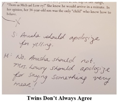 Twins Do Not Always Agree